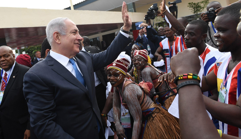 Israeli Prime Minister Benjamin Netanyahu greeting Liberians upon arriving at the airport in Monrovia, June 4, 2017. (Photo/JTA-Prime Ministry of Israel-Anadolu Agency-Getty Images)