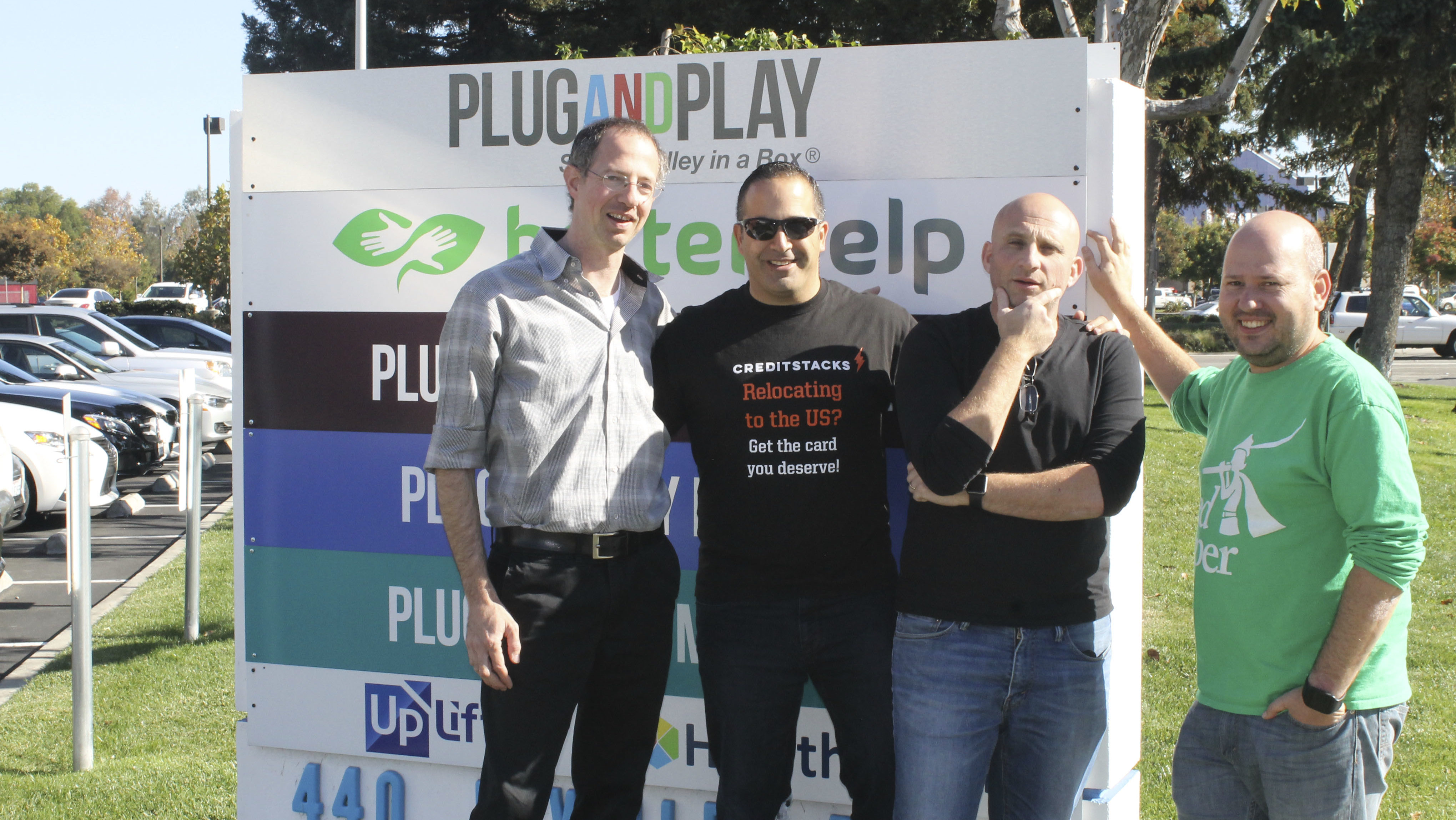 Israelis Yuval Machlin, Kfir Eyal, Daniel Shaked and Alon Matas (from left) in front of Plug n' Play, the Silicon Valley incubator where they work. (Photo/Ben Sales)