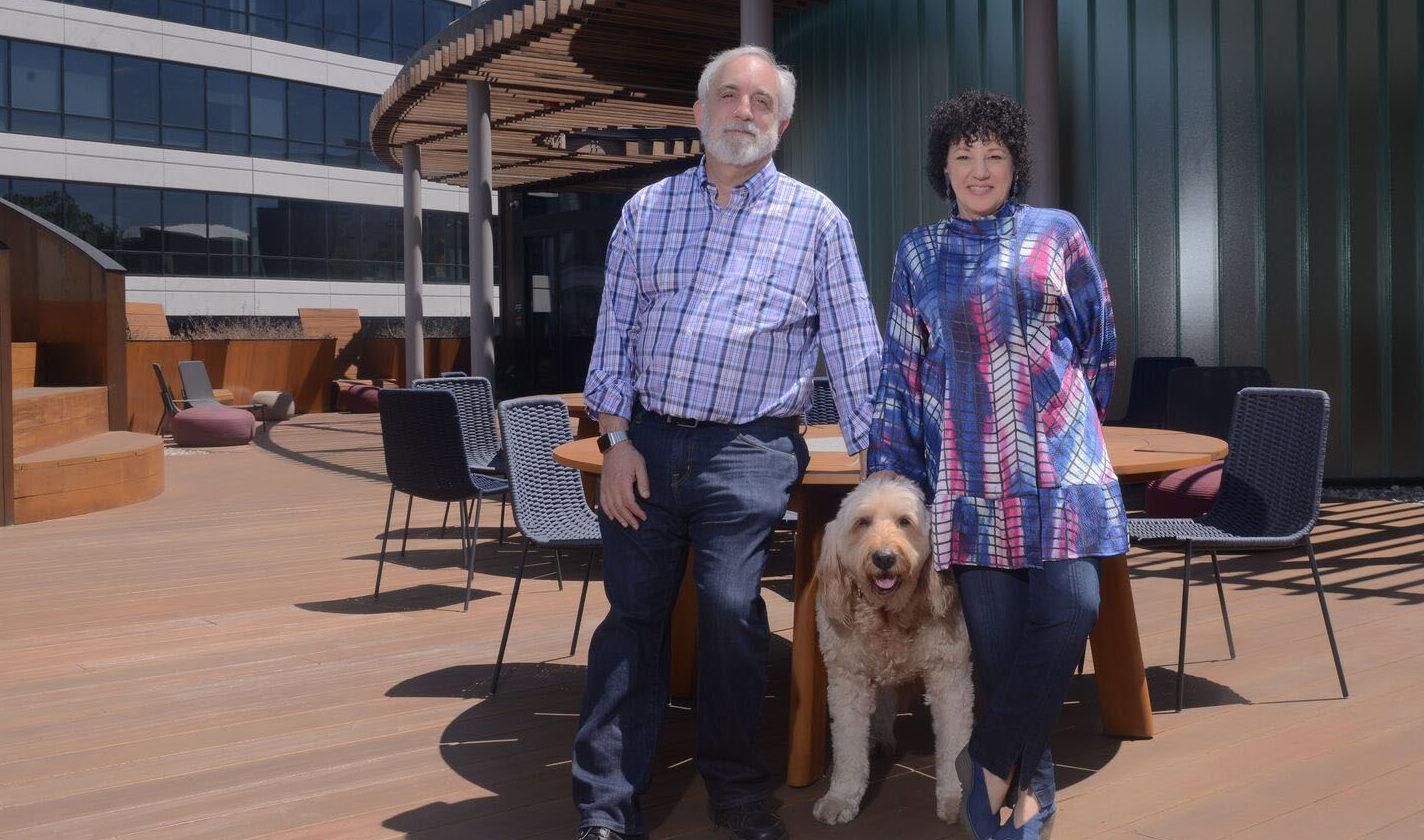 Freada Kapor Klein and Mitch Kapor with their dog, Dudley. (Photo/Kola Shobo)