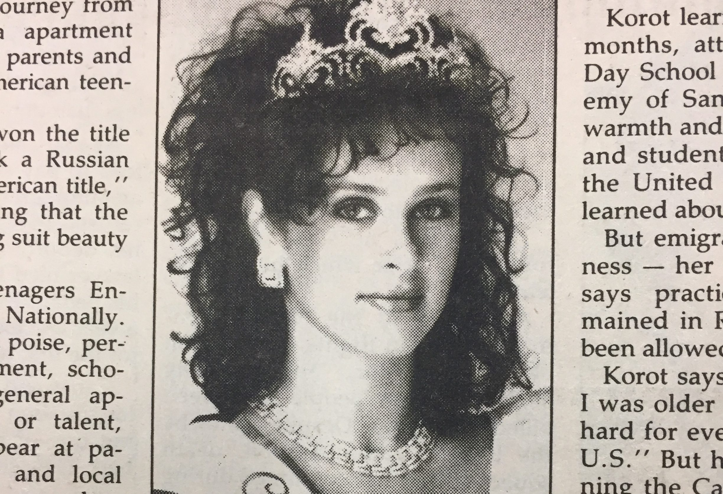 In 1987, the Jewish Bulletin (J.'s previous name) reported on Alla Korot, who won the Miss Teen California pageant that year.