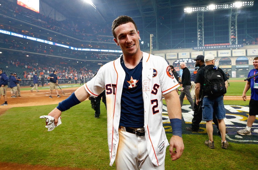 Alex Bregman celebrating after hitting the game-winning single during the tenth inning to defeat the Los Angeles Dodgers in game five of the 2017 World Series at Minute Maid Park in Houston, Oct. 30, 2017. (Photo/JTA-Jamie Squire/Getty Images)