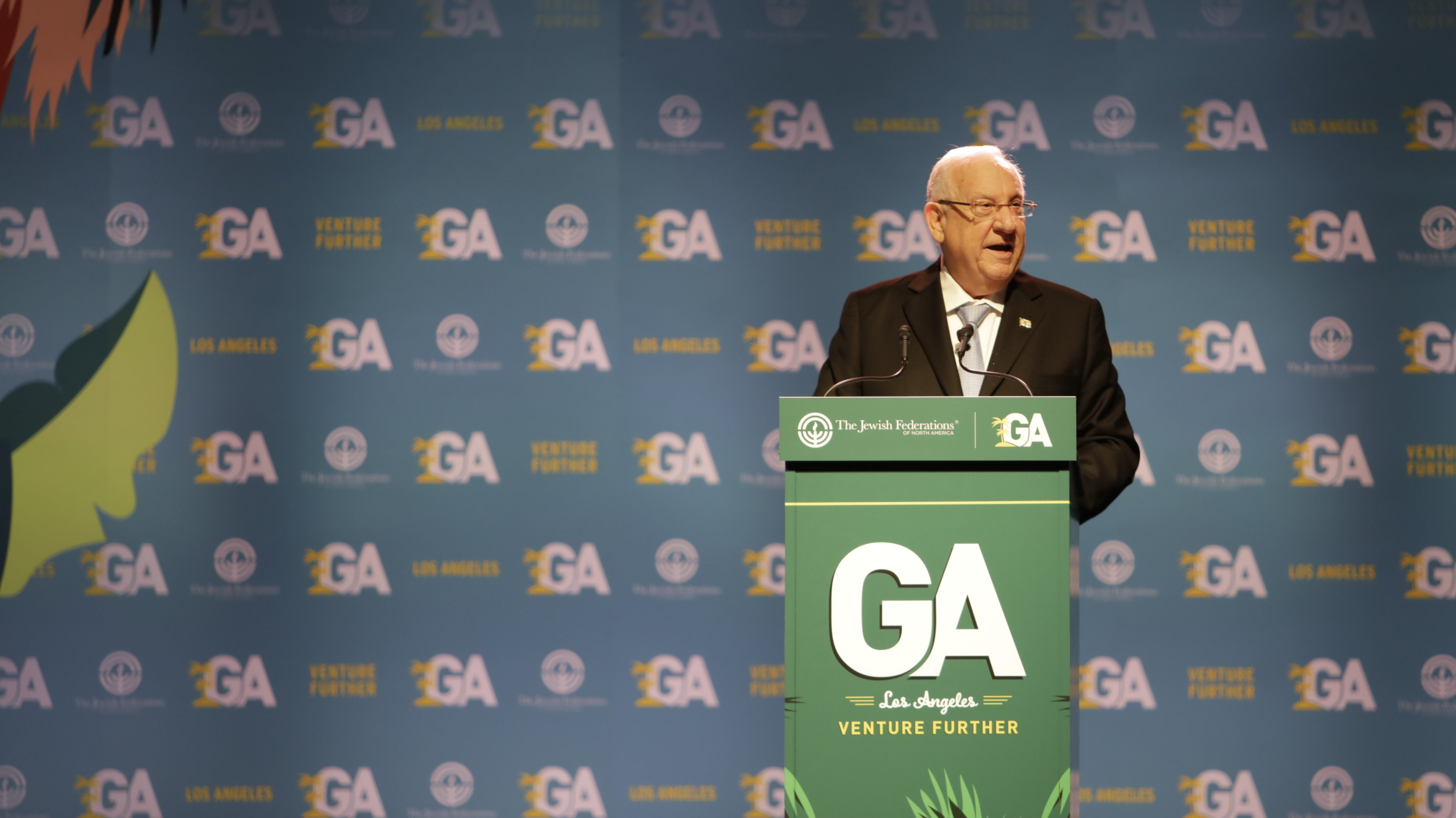 Israeli President Reuven Rivlin addresses the 2017 General Assembly of the Jewish Federations of North America in his first major talk to a Jewish audience outside Israel (Photo/Jeffrey Brown-JFNA)