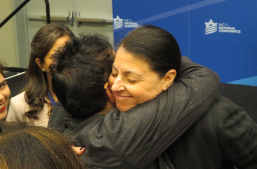 Knesset member Merav Michaeli embracing a participant at the Israeli American Council's annual Washington conference, Nov. 5, 2017. (Photo/JTA-Ron Kampeas)