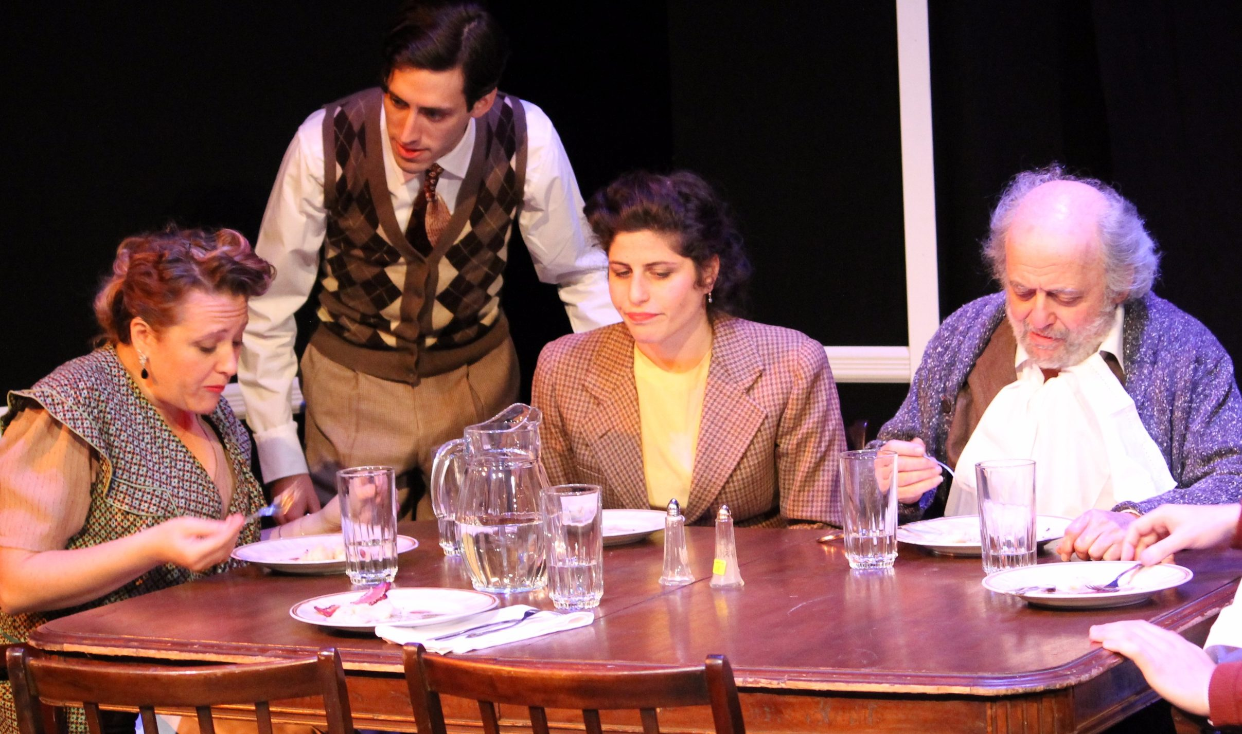 """From the New Yiddish Rep's staging of """"Awake and Sing!"""" featuring (from left) Ronit Asheri, Moshe Lobel, Lea Kalisch, David Mandelbaum and Eli Rosen. (Photo/JTA-Pedro Hernandez)"""