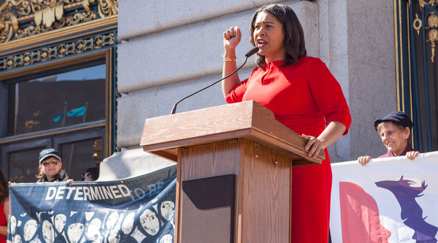 San Francisco Board of Supervisors President London Breed, now serving as acting mayor as well, speaking in front of City Hall on International Women's Day. (Photo/Wikimedia-Pax Ahimsa Gethen CC BY-SA 4.0)