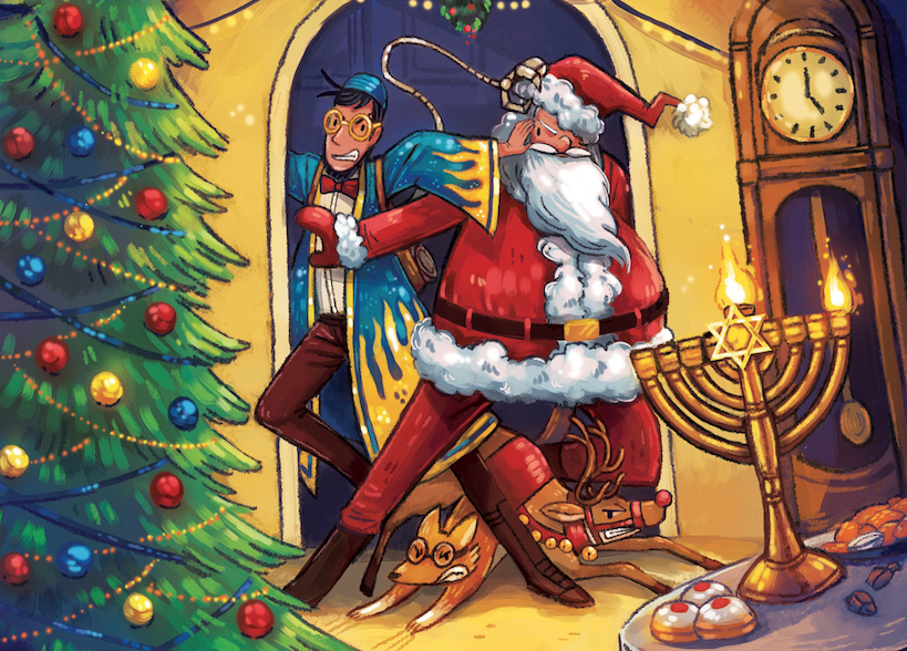 "From the cover of ""Hanukkah Harvie vs. Santa Claus: The Christmukkah Kerfuffle"""