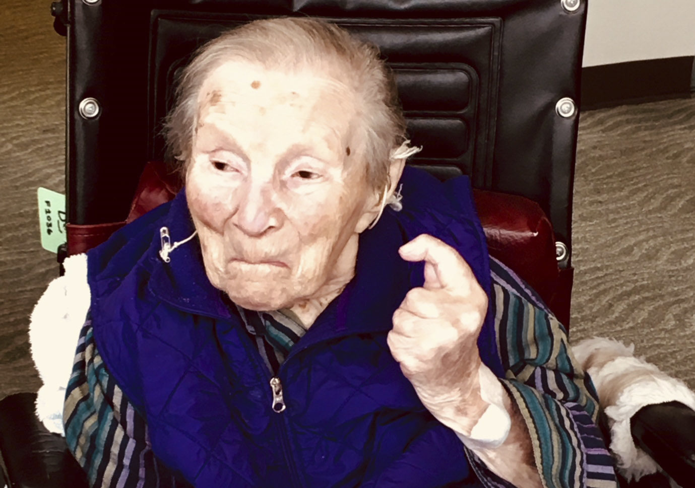 Doris Sperber at her 110th birthday party, Jan. 18, 2018  (Photo/Dan Pine)