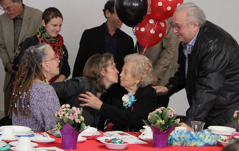 Helen Farkas, 97, with friends at family at her 97th birthday party.
