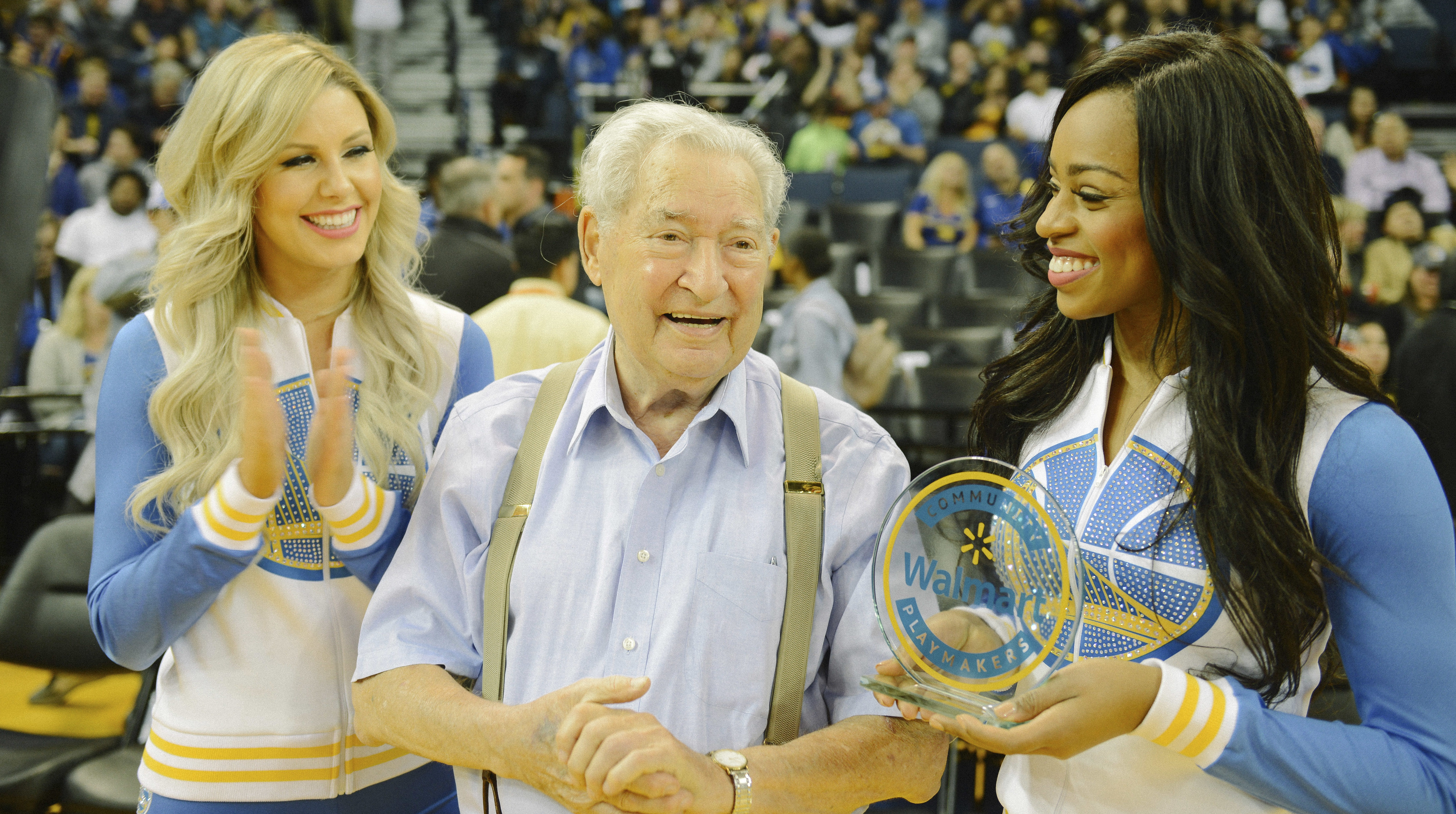 At Golden State Warriors'  Jewish Heritage Night during Hanukkah, Piedmont resident Arthur Weil, 92, was presented with the Walmart Community Playmaker Award.