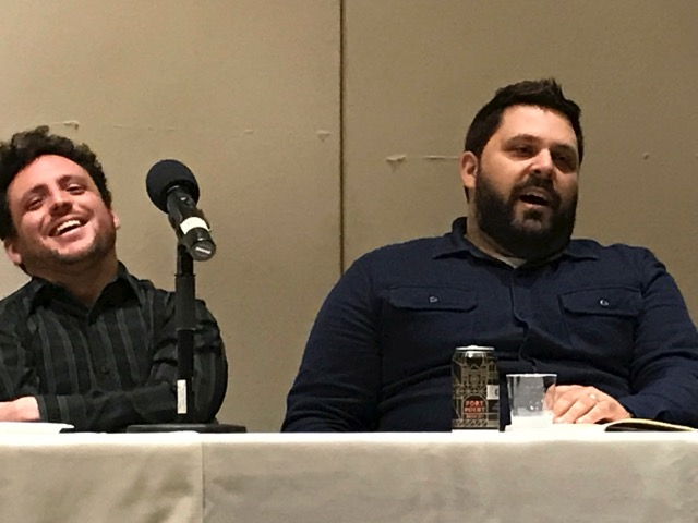 Benny Greisman of Irving's Premium Challah (left) and Evan Bloom of Wise Sons at Emanu-El panel discussion (Photo/Alix Wall)