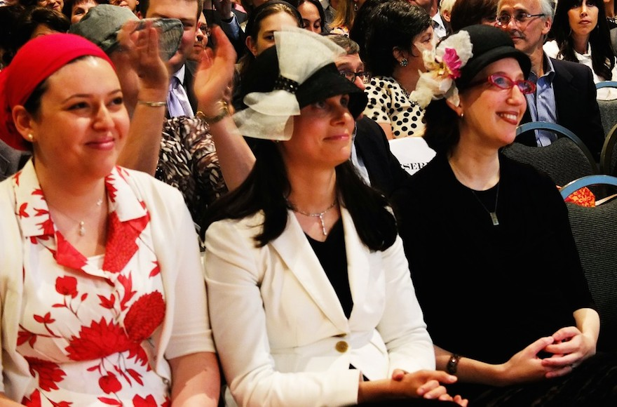 The Orthodox Union is allowing Maharat Ruth Friedman, left, shown at her graduation from Yeshivat Maharat in 2013, and three other Orthodox women clergy, to remain in their positions without their synagogues facing a penalty. (Photo/JTA-Joe Winkler)