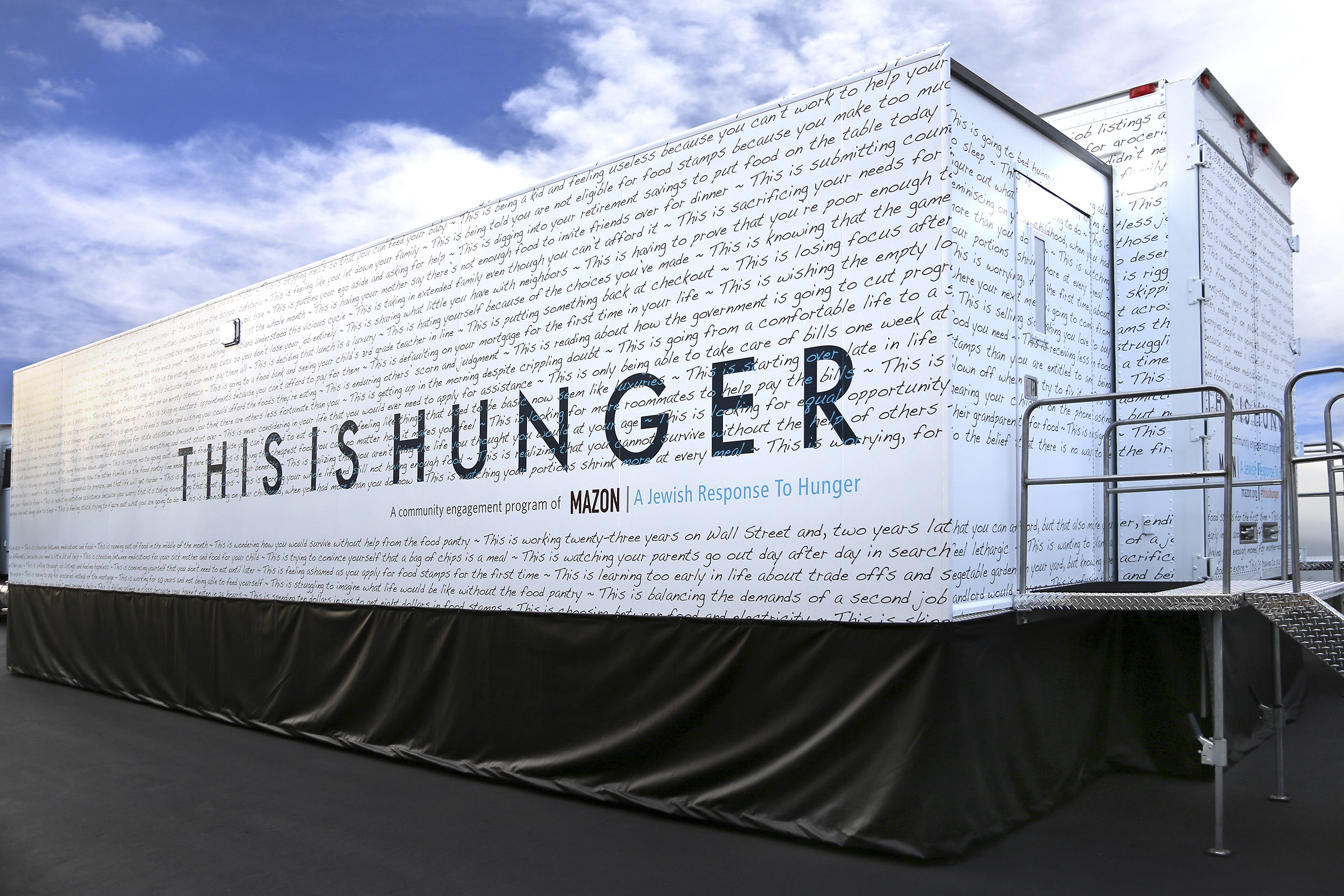 """Mazon's """"This is Hunger"""" truck/exhibit will be at locations around the Bay Area through Jan. 23, 2018. (Photo/Courtesy Mazon)"""