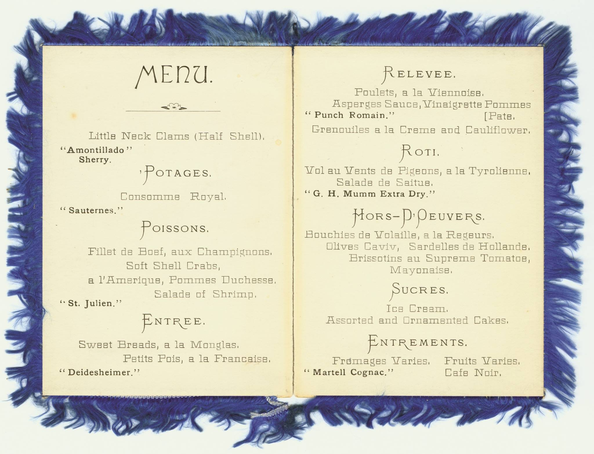 The menu of the original Trefa Banquet (Photo/Courtesy American Jewish Archives)