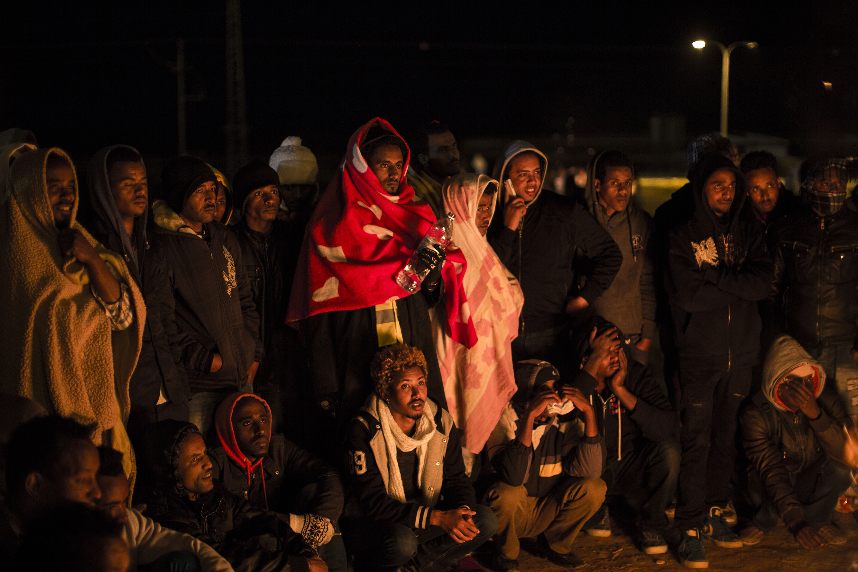 African refugees protesting outside the Holot detention center in the southern Negev Desert, Feb. 18, 2014. (Photo/JTA-Ilia Yefimovich-Getty Images)