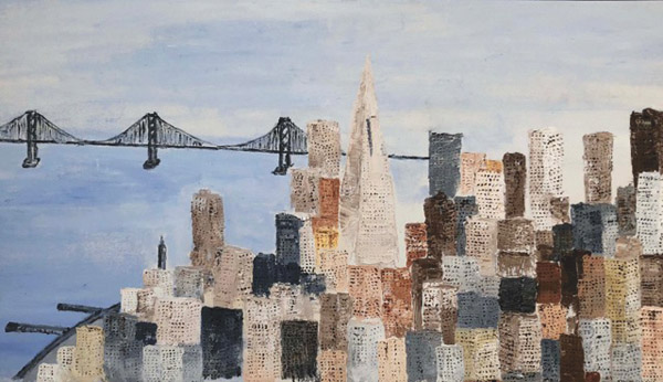 """San Francisco Bay Bridge,"" oil painting by Bob Sockolov"
