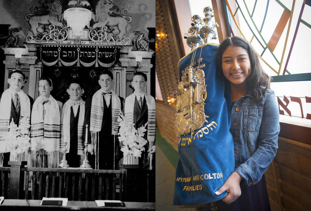 From then to now: an early class of bar mitzvah students at Congregation Beth Shalom of Modest (left) and Andrea Jimenez, who became bat mitzvah at Beth Shalom in 2016