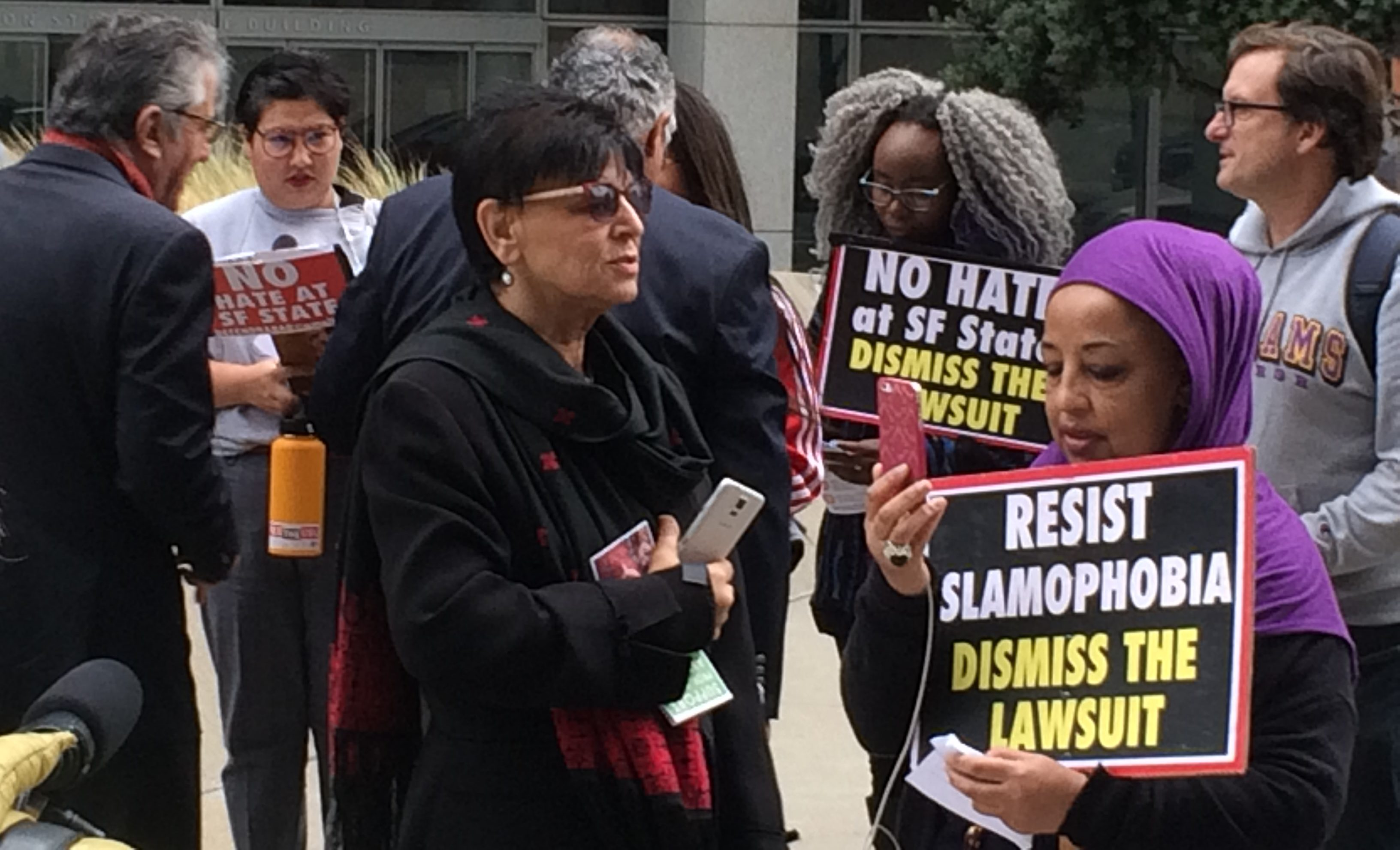 Professor Rabab Abdulhadi (center) demonstrate against a Lawfare Project lawsuit against SFSU in November 2017. (Photo/Rob Gloster)