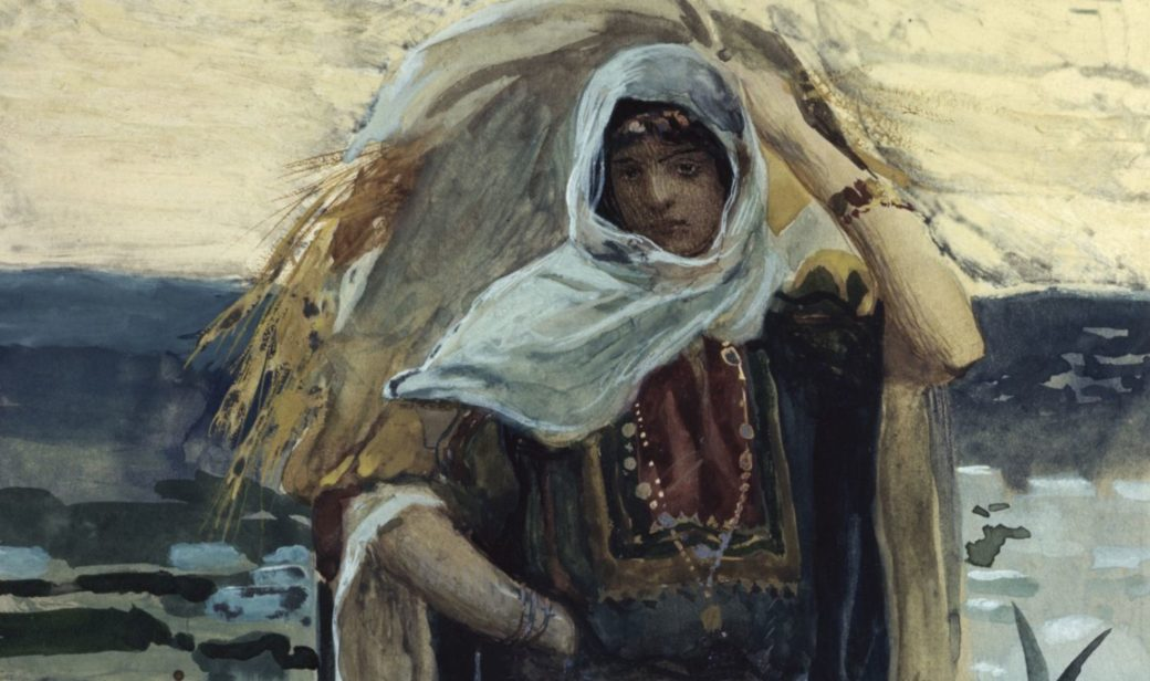 Ruth, the heroine of the biblical book that bears her name, was the first convert to Judaism. Painting by James Tissot, ca. 1900