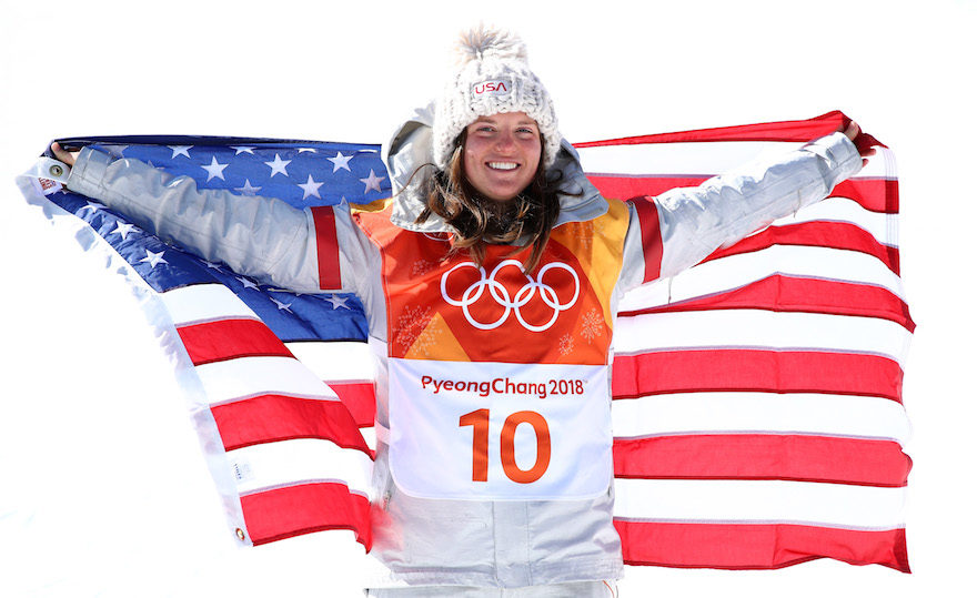 Arielle Gold posing after winning a bronze medal in the women's halfpipe snowboarding competition at the Winter Olympics in Pyeongchang, Feb. 13, 2018 (Photo/JTA-Cameron Spencer-Getty Images)