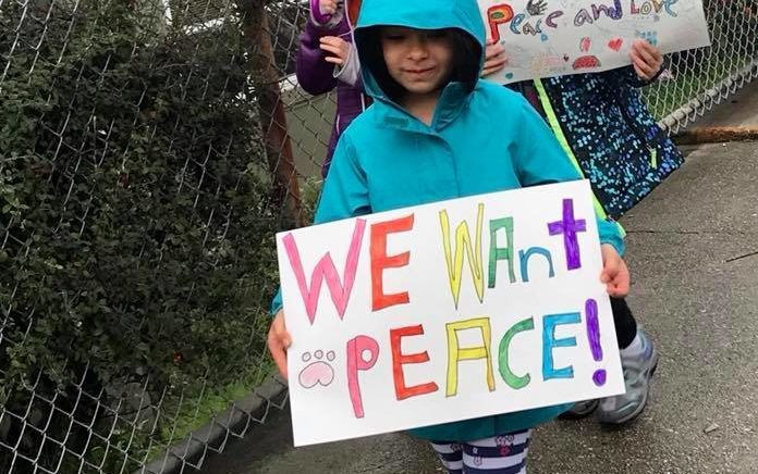 A student at Tehiyah Day School in El Cerrito participating in the National School Walkout, March 14, 2018. (Courtesy/Tehiyah Day School)