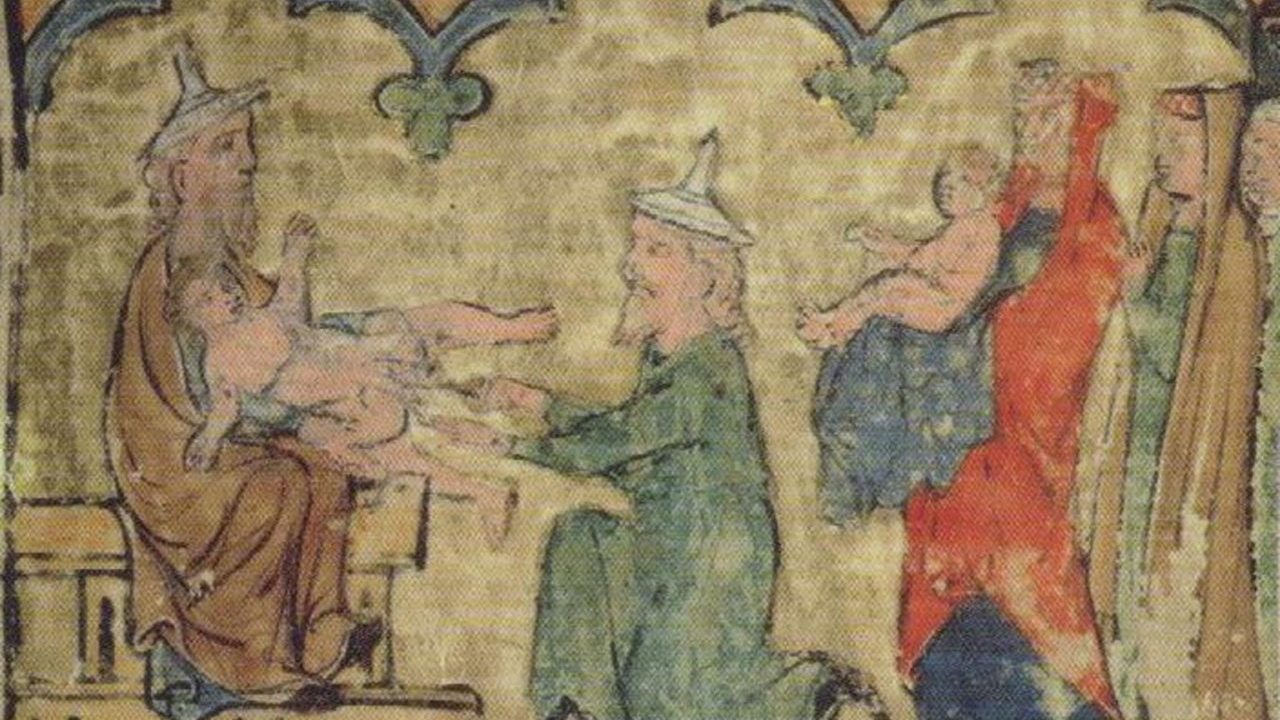 """The Circumcision of Isaac,"" Regensburg Pentateuch, ca. 1300"