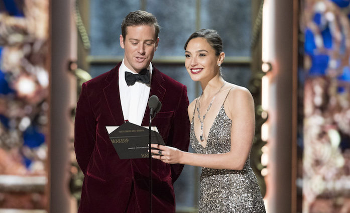 Armie Hammer, left, and Israeli actress Gal Gadot presenting the Academy Award for best hair and makeup at the ceremony in Los Angeles, March 4, 2018. (Photo/JTA-Craig Sjodin via Getty Images)