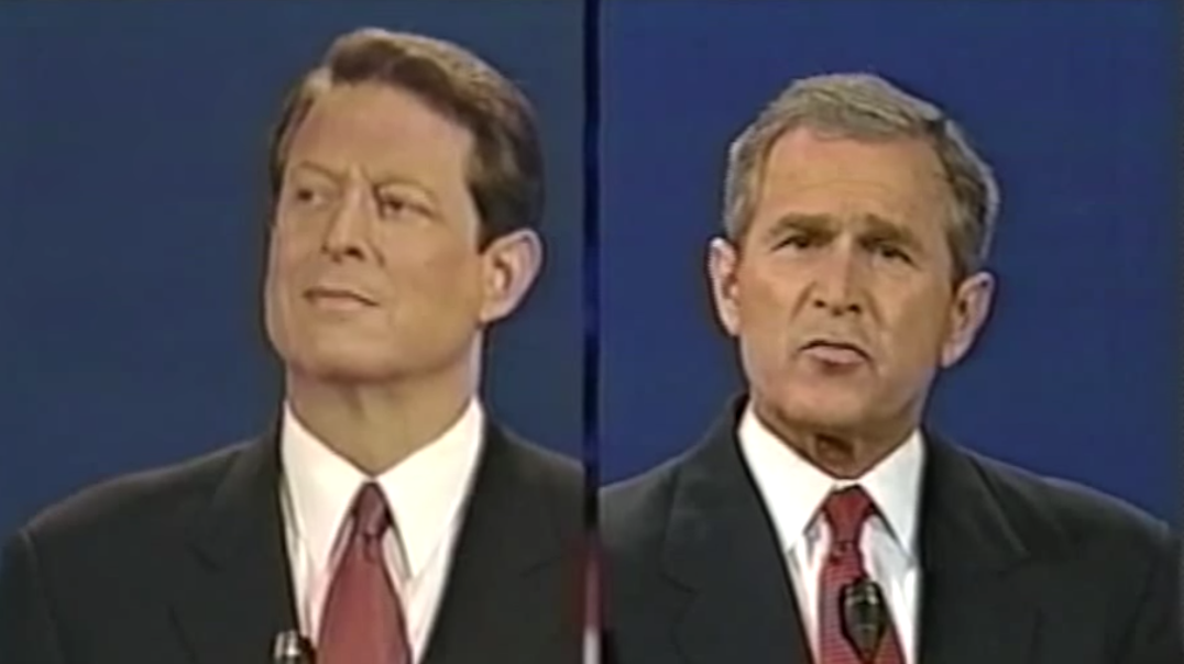 Al Gore and George W. Bush at the first debate of the 2000 presidential campaign