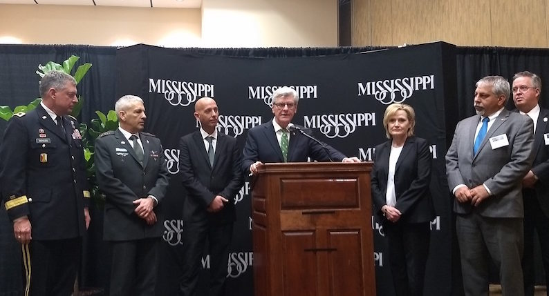 Mississippi Gov. Phil Bryant at a press conference with Israeli officials at the Homeland Defense and Security Summit in Biloxi, Mississippi, March 13, 2018. (Photo/JTA-Ben Sales)