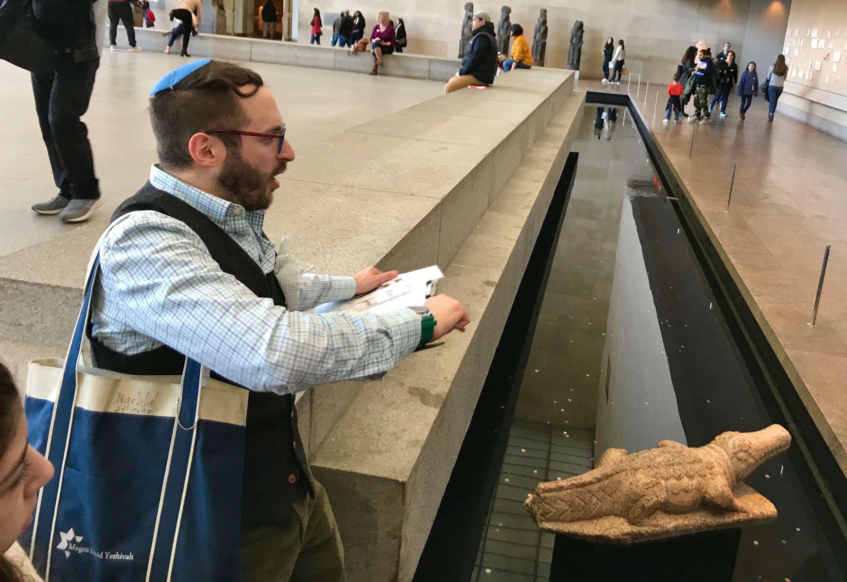 Nachliel Selavan giving a tour at the Metropolitan Museum of Art in New York (Photo/JTA-Debra Nussbaum Cohen)