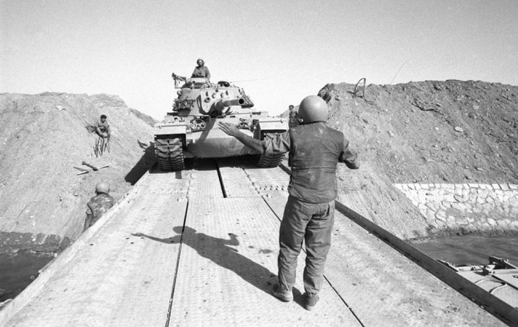 Israeli tanks cross the Suez Canal during the Yom Kippur War (Photo/Wikimedia-Israel Defense Forces)