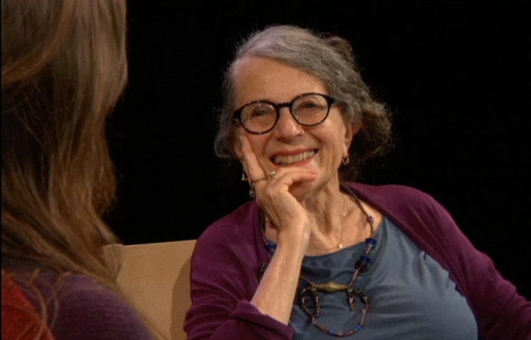 "Susan Duhan Felix with Brandi Brande in the first episode of ""Art Beat,"" Felix's new show on Berkeley's public television channel. (Screenshot/Berkeley Community Media)"