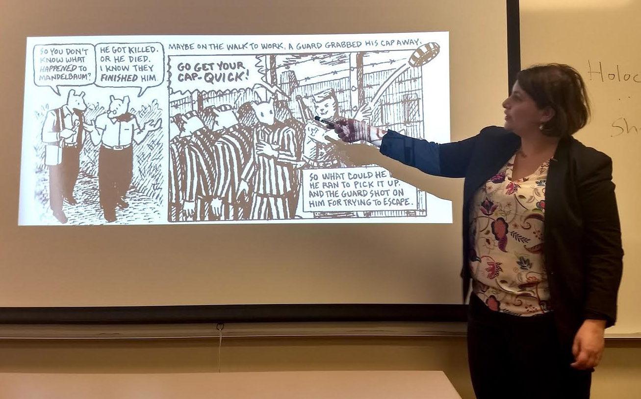 Shaina Hammerman teaches her course on Jewish humor at USF (Photo/Maya Mirsky)