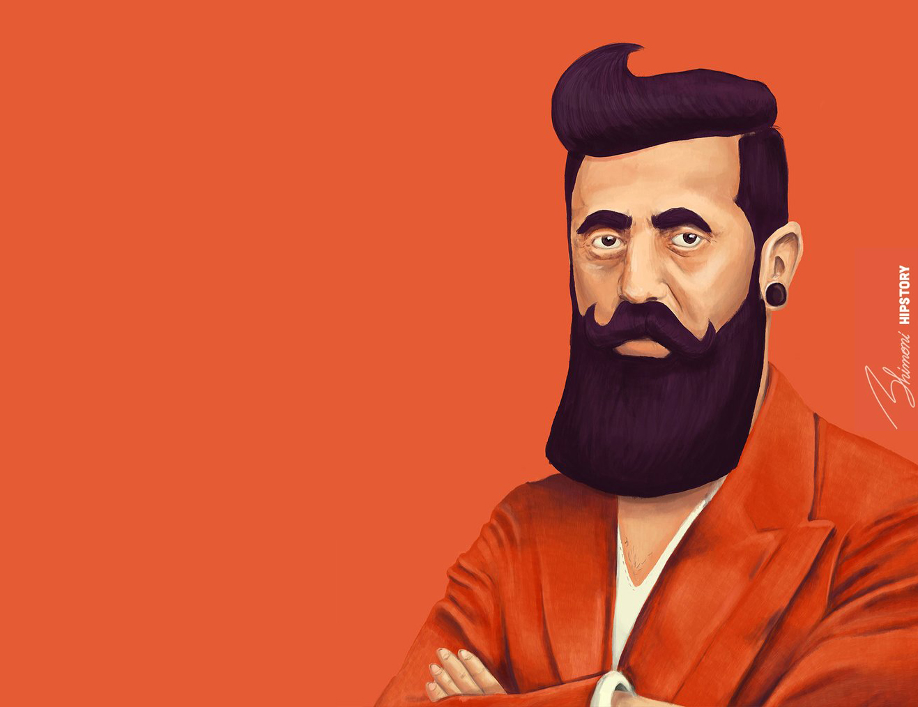 """""""Hipster Herzl,"""" part of Israeli artist Amit Shimoni's Hipstory series, reimagines the legendary Zionist leader and his iconic beard."""