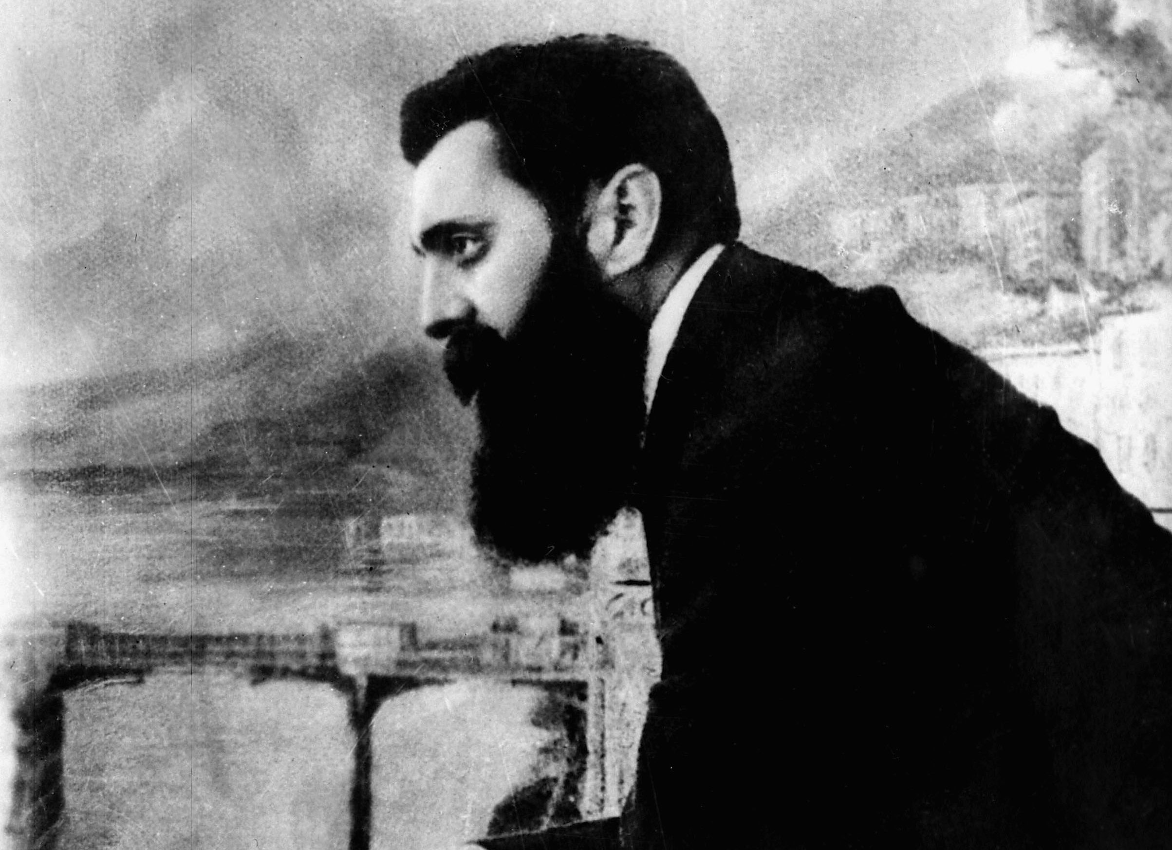 Theodor Herzl, the father of modern Zionism, leaning over the balcony of the Drei Konige Hotel during the first Zionist Congress in Basel, Switzerland, Aug. 29, 1897. (Photo/JTA-GPO-Getty Images)