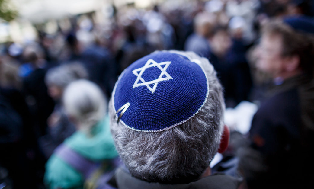 A man wearing a kippah at a gathering in Berlin to protest anti-Semitism, April 25, 2018. (Photo/JTA-Carsten Koall-Getty Images)