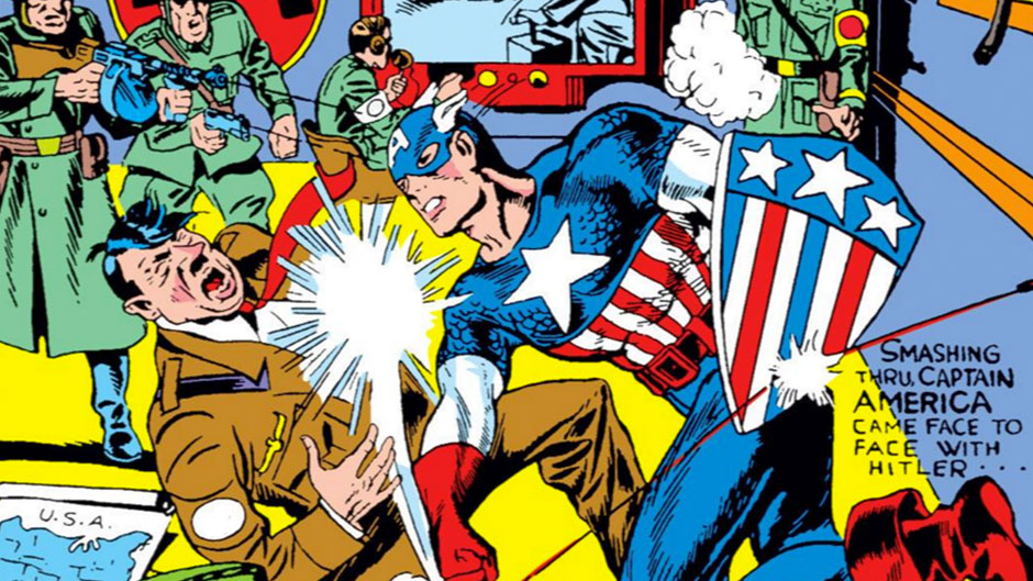 The cover of the first issue of Captain America, published in 1941, famously features Captain America giving Hitler what for.