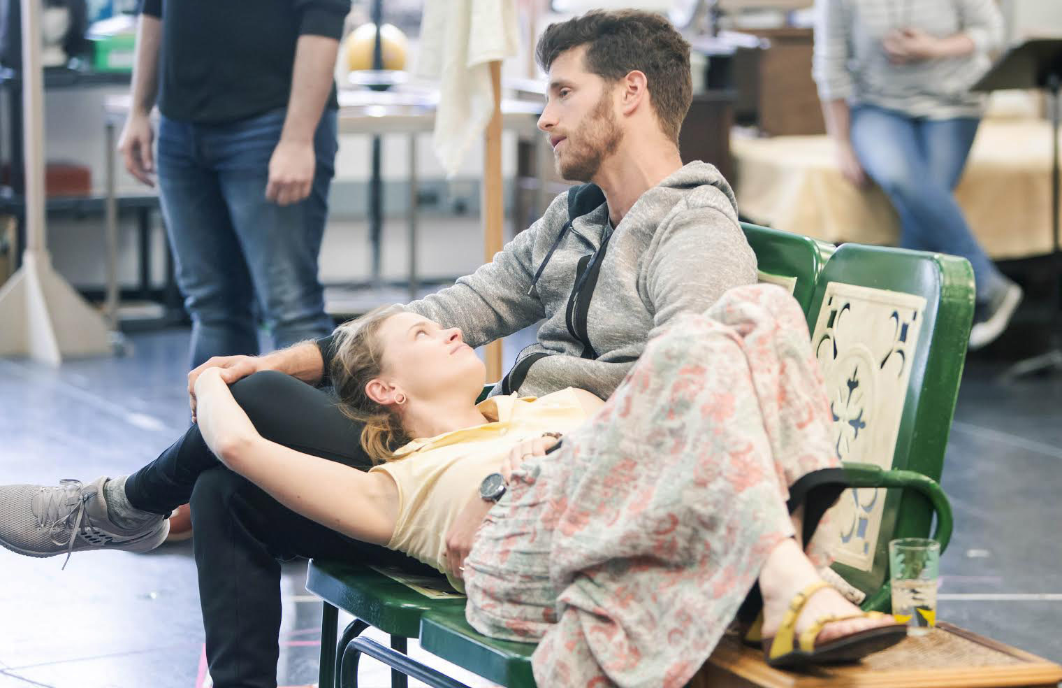 """Olivier Award winner Katie Brayben (Pearl) and Jonah Platt (Marty) in rehearsal for the world-premiere musical """"A Walk on the Moon,"""" opening June 9 at ACT."""