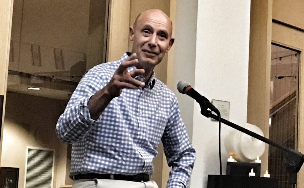 Itzik Laron tells his story at Osher Marin JCC's Israel-centric Moth-style storytelling event. (Photo/Courtesy Brandeis Marin)