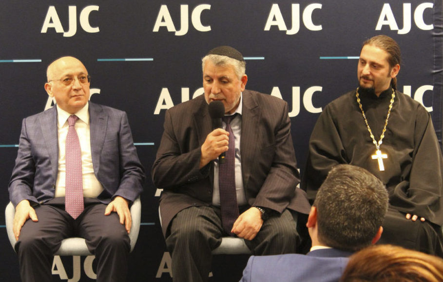From left: Mubariz Gurbanli, chairman of the State Committee for Work with Religious Organizations of Azerbaijan; Milikh Yevdayev, president of the Religious Community of the Mountain Jews of Baku; Elnur Afandiyev, archpriest of the Baku Eparchy of the Russian Orthodox Church. (Photo/Courtesy AJC)