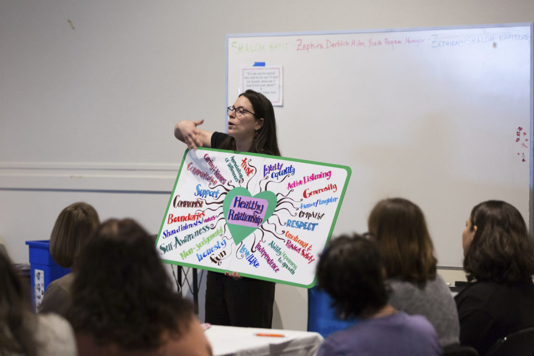Zephira Derblich-Milea of Shalom Bayit speaks to youth professionals at Jewish LearningWorks. (Photo/Kait Miller)