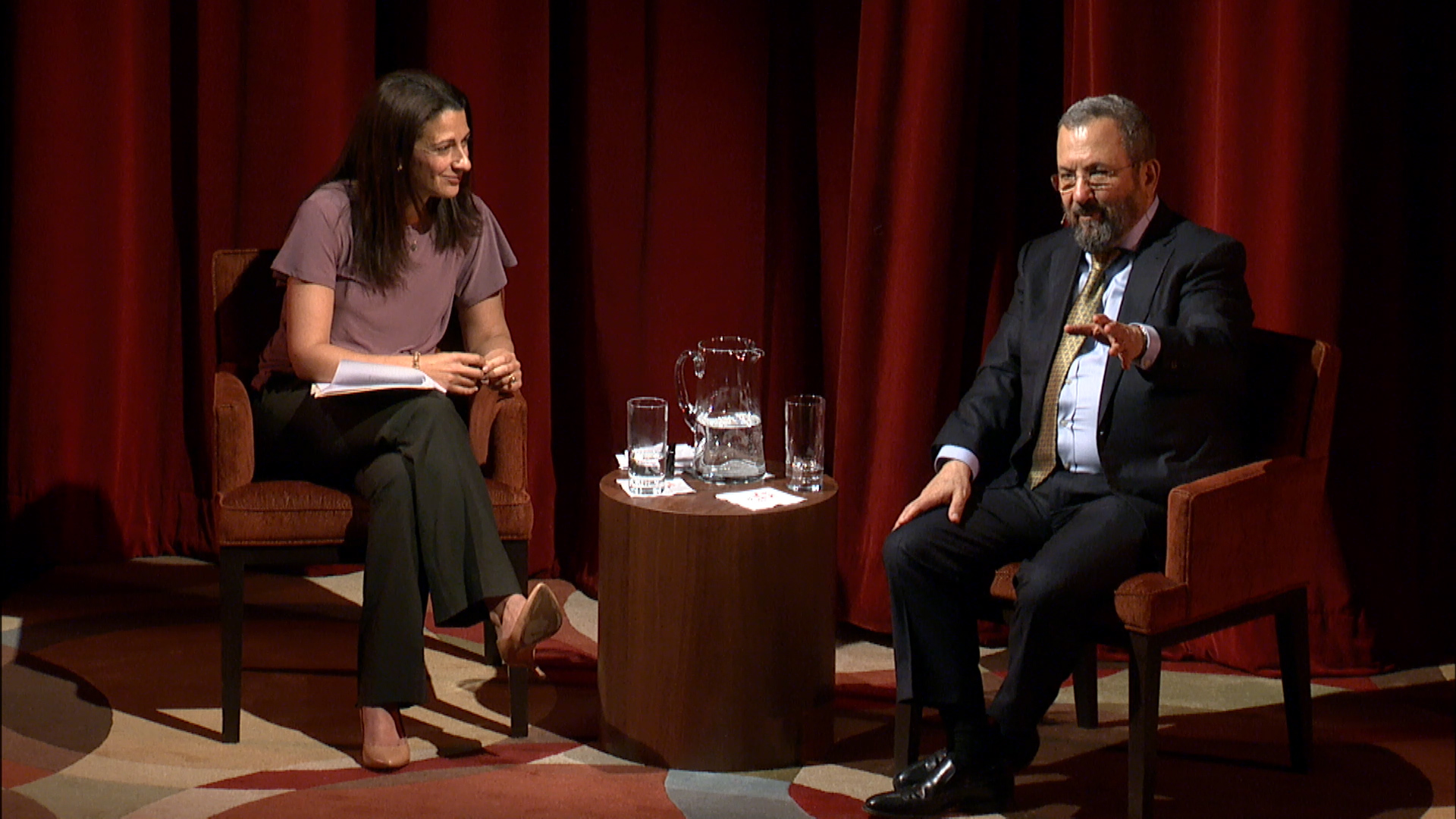 Former Israeli Prime Minister Ehud Barak in conversation with Stanford University's Janine Zacharia at the JCCSF, May 16. (Photo/JCCSF)