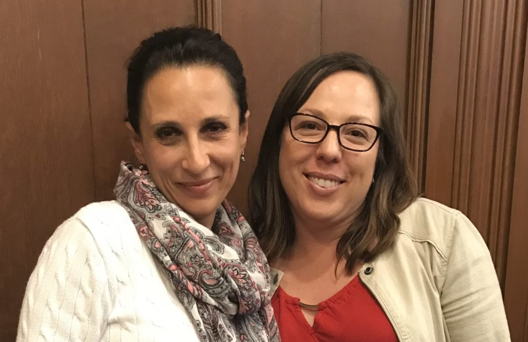Shalom Bayit outreach staffers Marianna Kritsberg and Sarah Rothe (Photo/Sue Fishkoff)