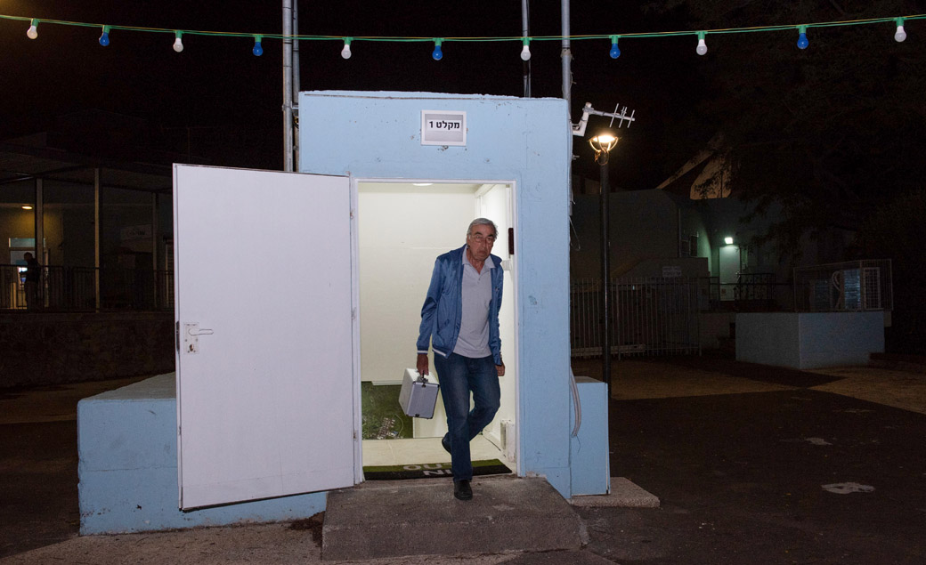 A man seen at the entrance to a bomb shelter that was open in the Golan Heights, in northern Israel, May 8, 2018 (Photo/JTA-Basel Awidat-Flash90)