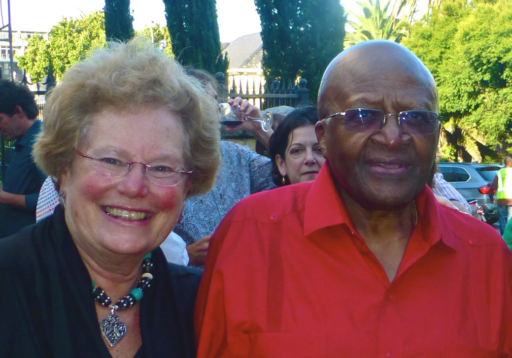 "Abby Ginzberg with Archbishop Desmond Tutu at the Cape Town premiere of her film ""Soft Vengeance"""