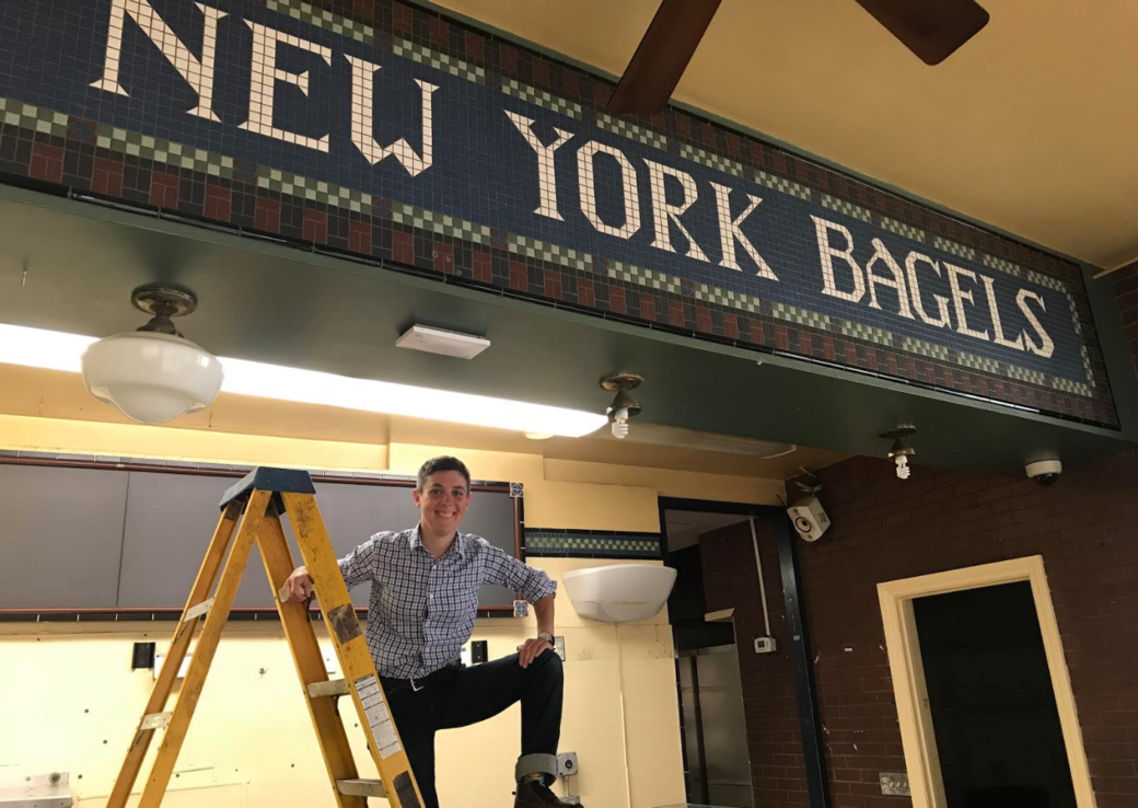 Emily Winston at the site-to-be of her first Boichik Bagels location, which was formerly the first Noah's location (Photo/Alix Wall)