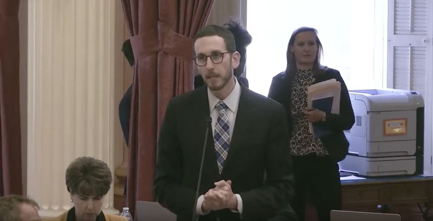 Sen. Scott Wiener of San Francisco speaks on California Senate floor May 14 in support of SR109.