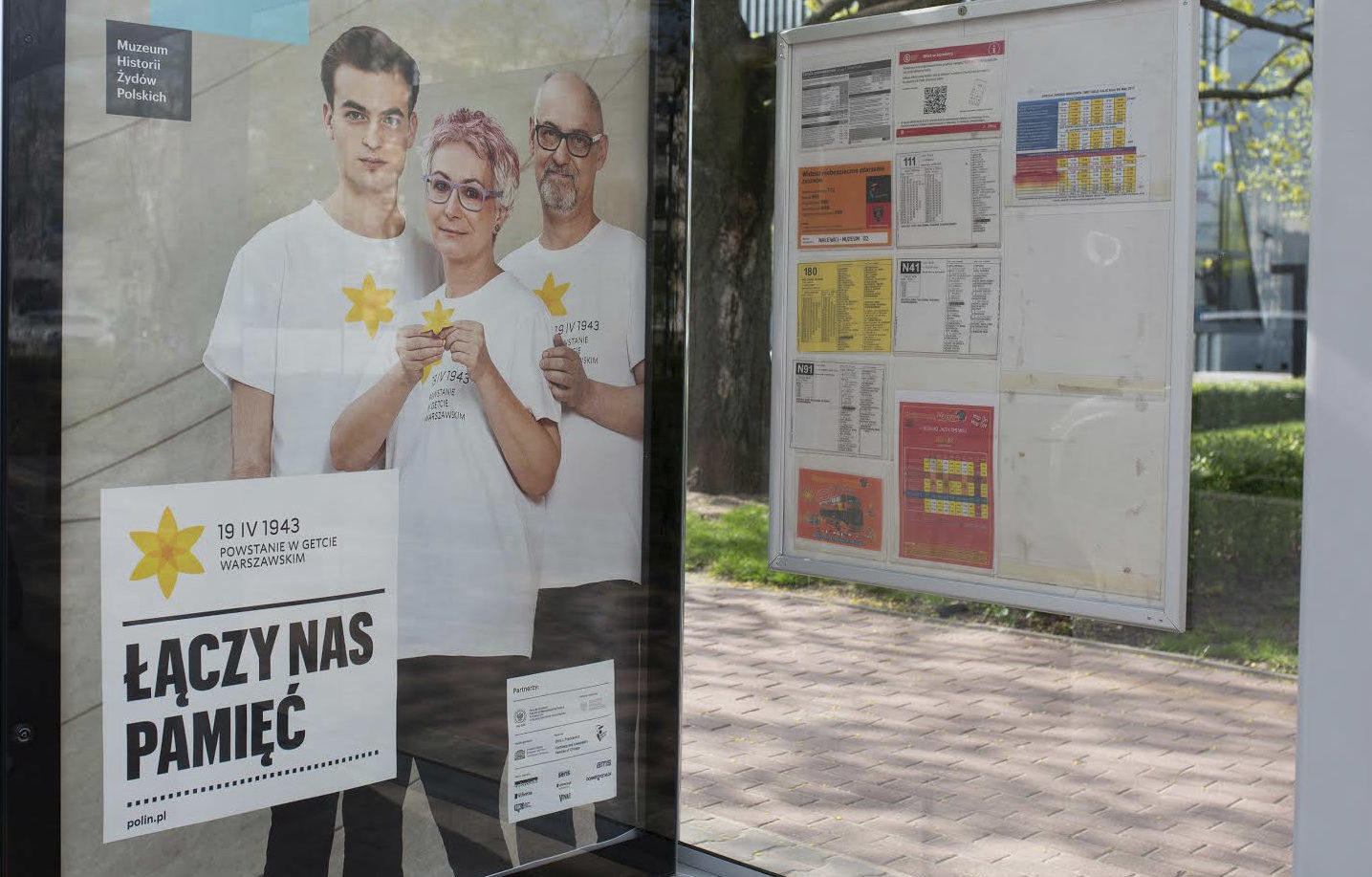 A bus stop ad in Warsaw for the commemoration of the 75th anniversary of the Warsaw Ghetto Uprising (Photo/Shana Penn)