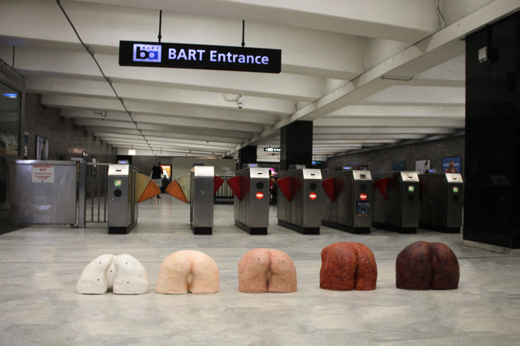 Allison Bouganim's butt sculptures in a BART station
