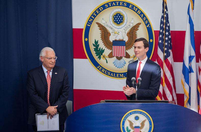 Jared Kushner (right) speaking while U.S. Ambassador to Israel David Friedman looks on at the opening ceremony of the U.S. embassy in Jerusalem, May 14, 2018. (Photo/JTA-Yonatan Sindel-Flash90)