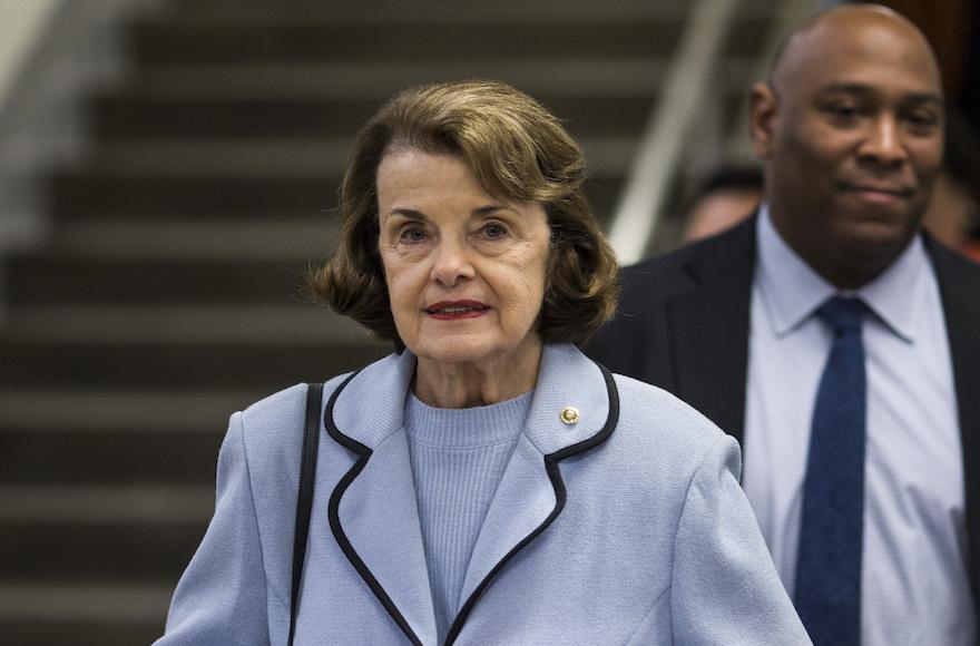 Sen. Dianne Feinstein on Capitol Hill, Jan. 11, 2018 (Photo/JTA-Getty Images-Zach Gibson)